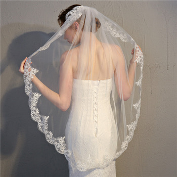 1 Layer Fingertip-Length Organza with Lace White Wedding Veils