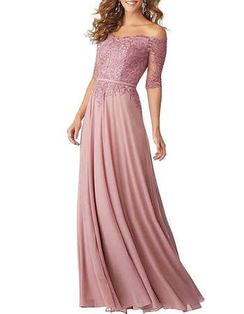 Affordable Off-the-shoulder Long Chiffon Applique Bridesmaid Dress