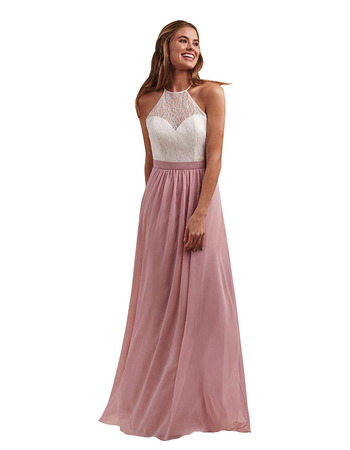 Custom A-Line Halter Floor Length Chiffon Lace Bridesmaid Dress