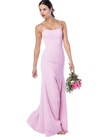 Discount Spaghetti Straps Floor Length Satin Bridesmaid Dress
