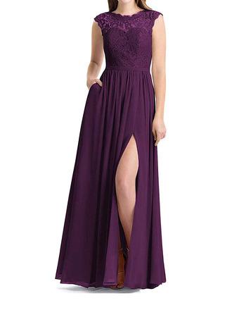 Elegant Sleeveless Floor Length Lace Chiffon Bridesmaid Dress with Slit