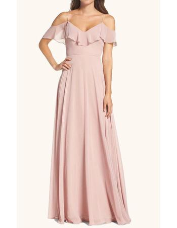 Custom A-Line Spaghetti Straps Floor Length Chiffon Bridesmaid Dress