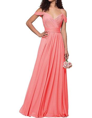 2020 Style Spaghetti Straps Floor Length Chiffon Bridesmaid Dress