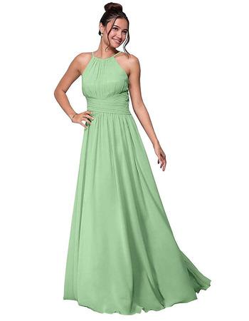 Custom A-Line Halter Floor Length Chiffon Bridesmaid/ Party Dress
