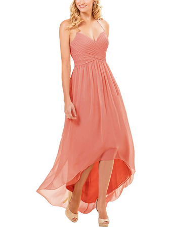 Affordable Halter Sweetheart High-Low Long Chiffon Bridesmaid Dress