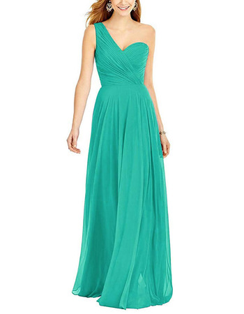 Elegant A-Line One Shoulder Floor Length Chiffon Bridesmaid Dress