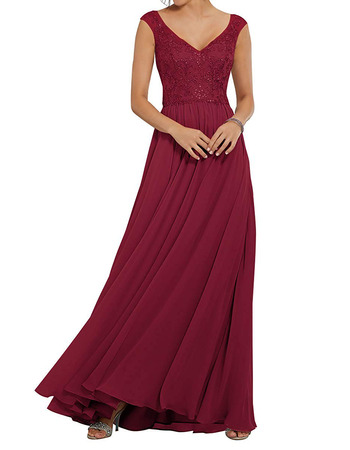 2020 A-Line V-Neck Floor Length Chiffon Embroidery Bridesmaid Dress