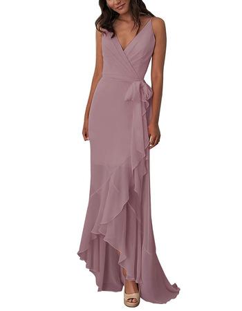 Custom V-Neck Spaghetti Straps High-Low Chiffon Bridesmaid Dress