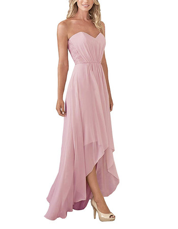 Elegant A-Line Sweetheart High-Low Long Chiffon Bridesmaid Dress