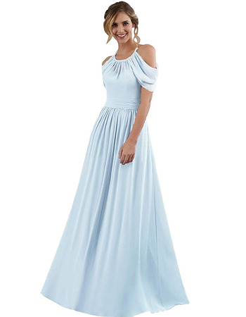 2020 New Style A-Line Halter Floor Length Chiffon Bridesmaid Dress
