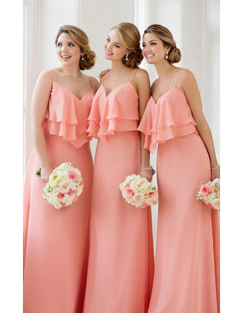 Custom Spaghetti Straps Sweetheart Long Chiffon Bridesmaid Dress