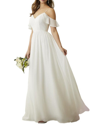 Affordable Spaghetti Straps Floor Length Chiffon Bridesmaid Dress