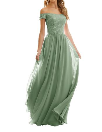 2020 Style Off-the-shoulder Long Chiffon Lace Bridesmaid Dress