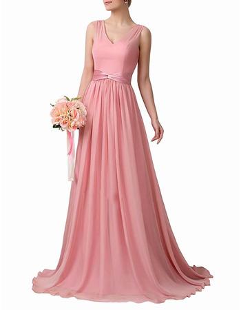 Custom V-Neck Floor Length Chiffon Bridesmaid Dress with Sashes