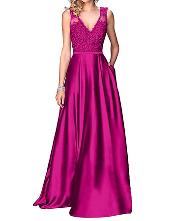 Discount A-Line V-Neck Floor Length Satin Applique Bridesmaid Dress