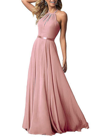 Elegant Halter Floor Length Chiffon Bridesmaid/ Evening Dress