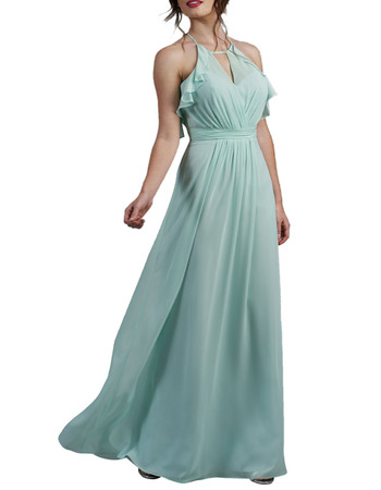 2020 New Halter Floor Length Chiffon Backless Bridesmaid Dress
