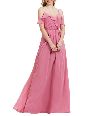 Custom Spaghetti Straps Long Chiffon Bridesmaid/ Evening Dress