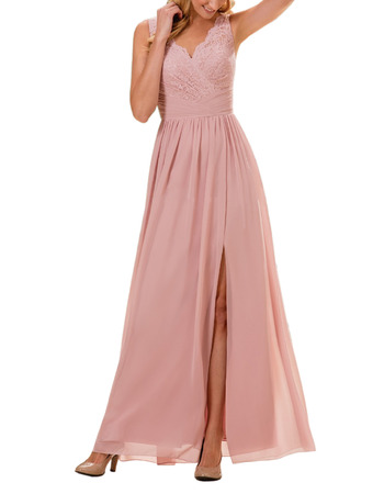 Inexpensive V-Neck Long Chiffon Lace Bridesmaid Dress with Slit