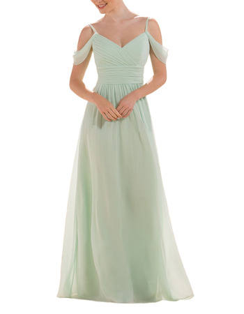 Elegant Spaghetti Straps Floor Length Chiffon Bridesmaid Dress