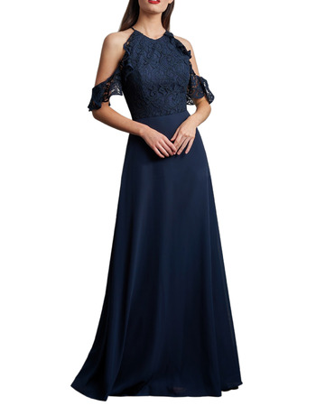 2020 Cold Shoulder Floor Length Chiffon Lace Bridesmaid Dress