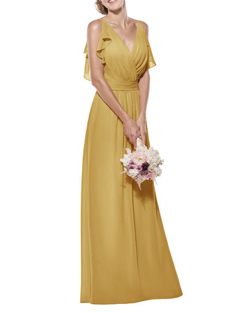 Custom Spaghetti Straps V-Neck Long Chiffon Bridesmaid Dress