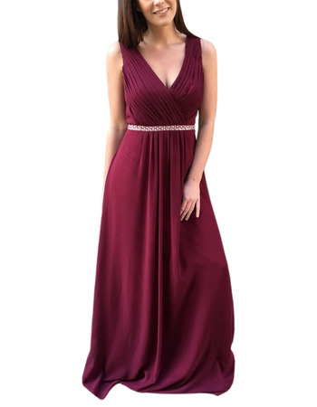 2020 New Style V-Neck Floor Length Chiffon Bridesmaid Dress