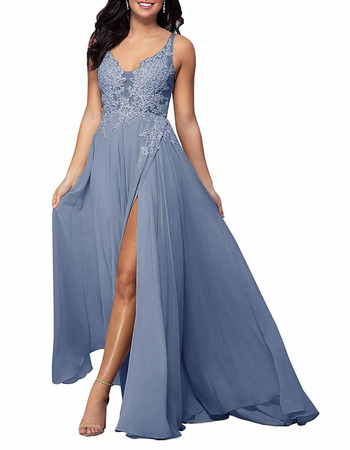 Discount V-Neck Long Chiffon Applique Bridesmaid Dress with Slit