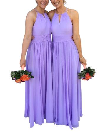 Elegant Halter Floor Length Chiffon Bridesmaid/ Evening Dress