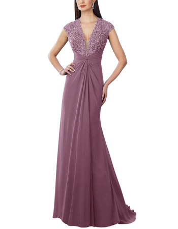 Custom V-Neck Floor Length Chiffon Bridesmaid/ Evening Dress