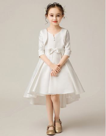 Adorable High-Low Knee Length Flower Girl Dress with Jackets