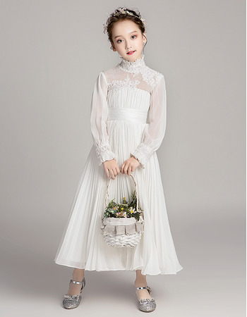 2020 New Style Chiffon Pleated Flower Girl Dress with Long Sleeves