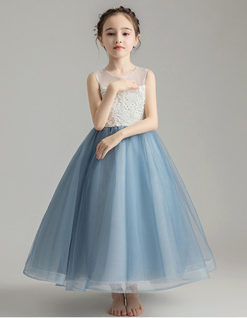 Custom A-Line Sleeveless Tea Length Organza Little Girls Party Dress