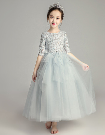 Inexpensive A-Line Lace Little Girls Party Dress with Half Sleeves