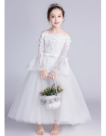 Stunning Off-the-shoulder Long Flower Girl Dress with Long Sleeves