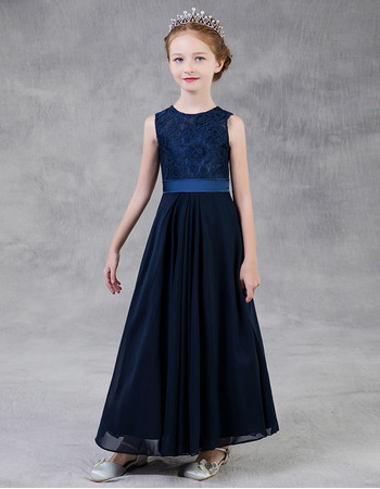 2020 Style A-Line Long Lace Chiffon Little Girls Party Dress