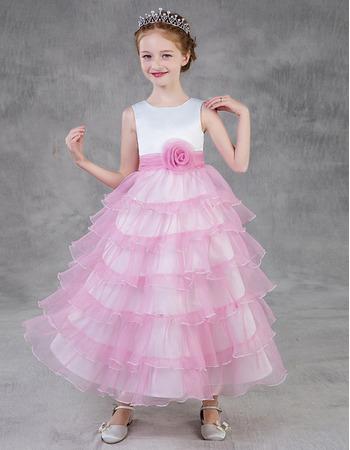 Custom Tea Length Layered Skirt Satin Tulle Little Girls Party Dress