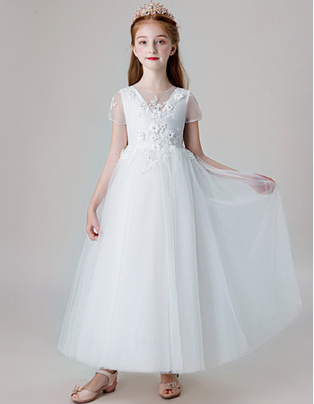 Affordable A-Line Ankle Length Organza First Communion Dress