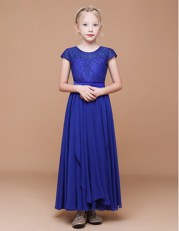 Adorable A-Line Short Sleeves Ankle Length Chiffon Flower Girl Dress