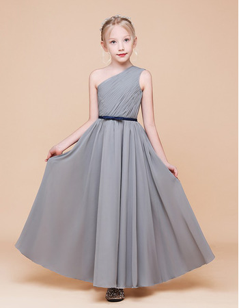 2020 New A-Line One Shoulder Ankle Length Chiffon Flower Girl Dress