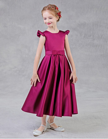 Adorable A-Line Sleeveless Tea Length Satin Flower Girl Dress