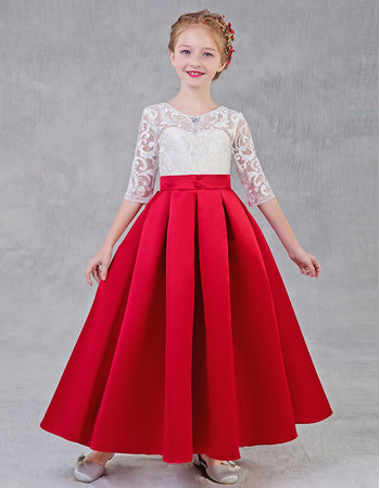 2020 A-Line Long Lace Satin Flower Girl Dress with Half Sleeves