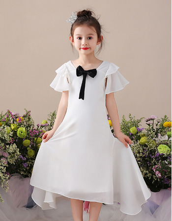 Custom Tea Length Chiffon Flower Girl Dress with Short Sleeves
