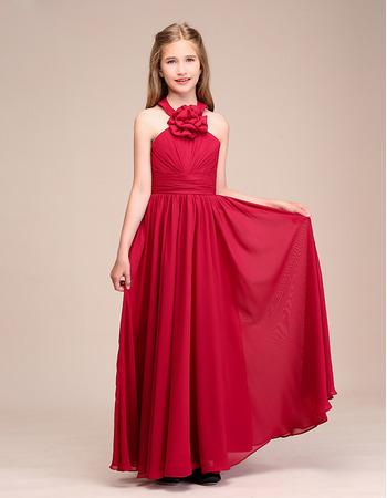 Custom Long Chiffon Junior Bridesmaid Dress