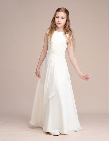 2020 Long Chiffon Junior Bridesmaid Dress
