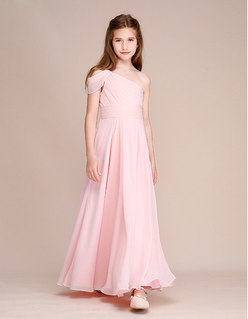 Custom One Shoulder Chiffon Junior Bridesmaid Dress
