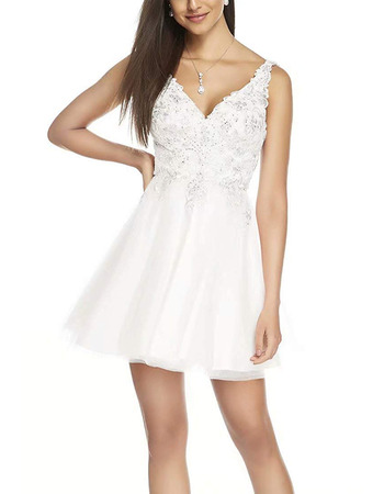 Fashionable A-Line V-Neck Short Lacing Homecoming/ Graduation Dress