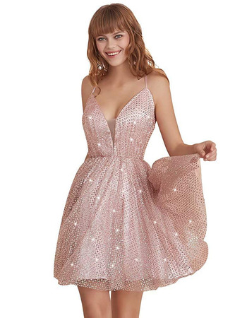 Beautiful Spaghetti Straps Short Beading Backless Homecoming Dress