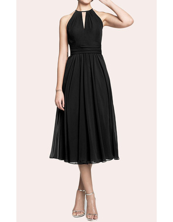 2019 Elegant A-Line Halter Tea Length Chiffon Black Homecoming Dress