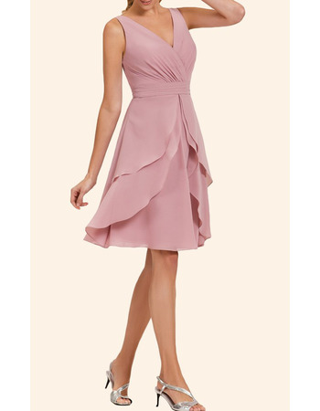 Classy A-Line V-Neck Short Chiffon Layered Skirt Homecoming Dress